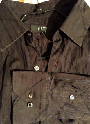 Черная мужская рубашка с длинным рукавом next.