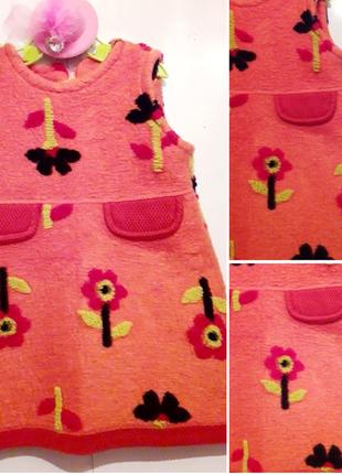 Нереально крутое оранжевое платье/сарафан в цветочный принт zara.