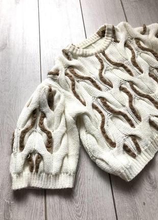 Свитер в косичку/укорочённый свитер/весенний свитер/бежевый свитер zara