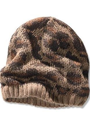 Модная молодежная шапка гладкой вязки с жаккардовым принтом4