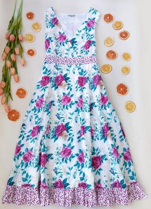 Хлопковое платье миди с рюшей принт розы от per una  размер xxl (16)