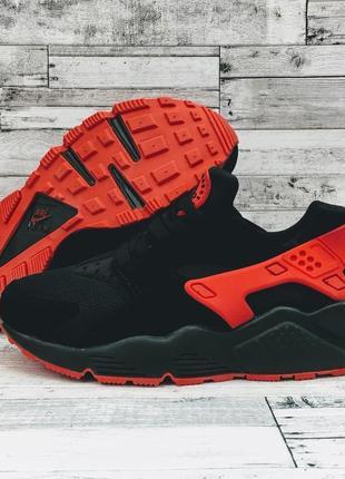 Шикарные женские кроссовки nike air huarache black red