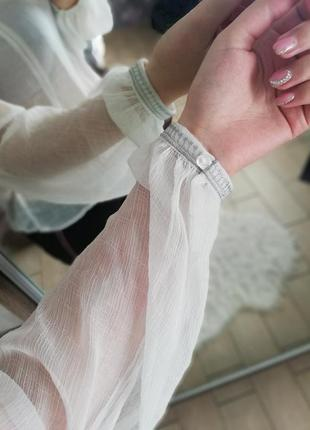 Прозрачная блуза  с завязкой на шее манго