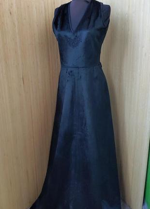 Чёрное длинное платье шелк велюр mis lagotte m/l