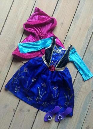 Карнавальное платье анна фрозен 3-4 года с накидкой и туфельками