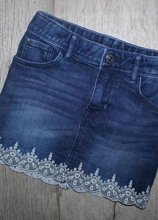 Стильная юбка джинсовая темно синяя h&m 5-6 лет, рост 110-116 см.