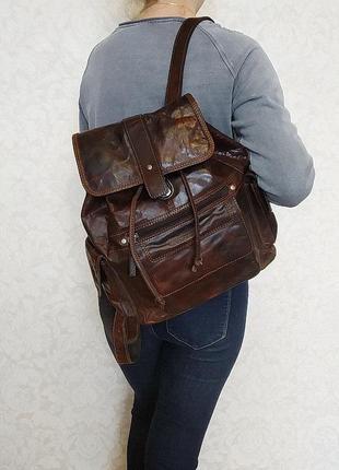 Бомбезнейший рюкзак spikes & sparrow, голландия, натуральная воловья кожа.