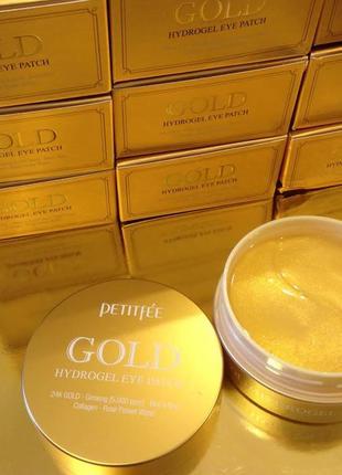Гидрогелевые патчи +5 gold hydrogel eye patch petitfee с коллоидным золотом 60 штук