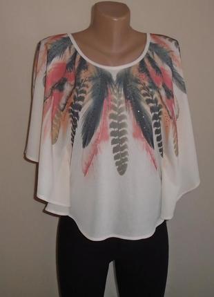 Блуза летучая мишь с перьями и стразами/блузка з пір`їнами та стразами/футболка