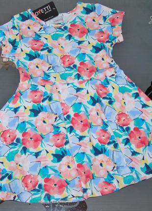 Летнее платье lovetti турция 5-8 лет цветы