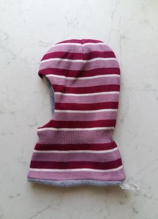 Теплая яркая шапка капор на флисовой подкладке mango  на 2-5 лет