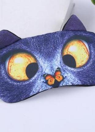 Уникальная гелевая маска для сна 2 в 1 с охлождающим эффектом кот кошечка котик