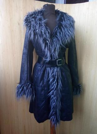 Чёрное пальто дублёнка флис