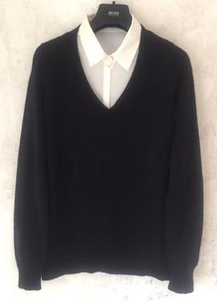 Джемпер, пуловер, свитер с v-образным вырезом, 55% шёлк 45% кашемир, m-l