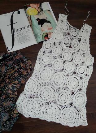 Стильная майка топ блузка вязаная кружевная белая