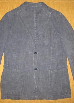 Boggi milano оригинал льняной пиджак италия мужской летний блейзер р. l -xl