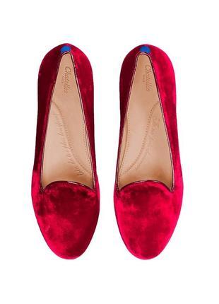 Стильные бархатные лоферы сhatelles paris 41 р. красного цвета туфли балетки