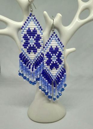 """Бело-синие серьги """"зимние"""""""