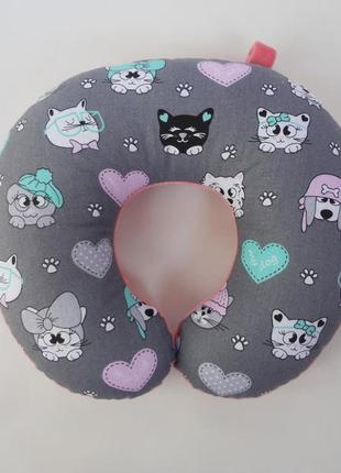 Дорожная подушка- котики, подушка для путешествий - коты, подушка для шеи - котики