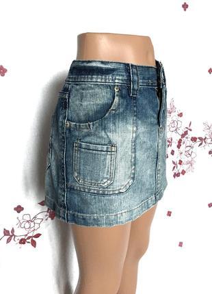 Шикарная выцветшая мини юбка джинс деним  1+1=3 🎁2