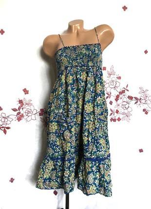 Нежное цветочное платье сарафан с баской внизу 1+1=3 🎁