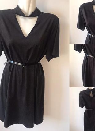 Замшеве чокер-плаття