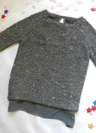 💣   свитерок  с пайетками и открытой спинкой укороченный рукав  подкладка шифон