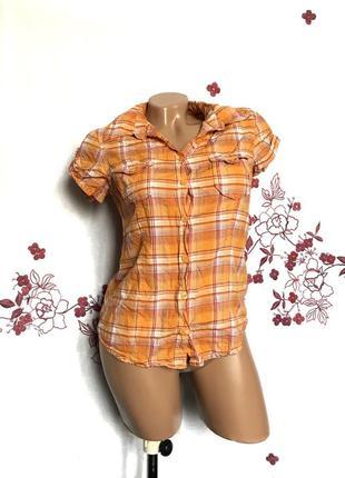 Актуальная рубашка в клетку с коротким рукавом 1+1=3 🎁