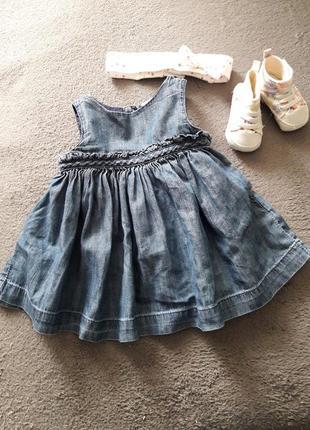 Платье сарафанчик для девочки 3-6 мес джынсовое