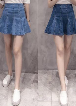 Актуальная джинсовая деним юбка клеш в складку 1+1=3 🎁