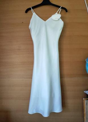 Белое платье комбинация yeves calin paris
