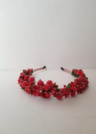 Стильный венок,веночек,обруч,ободок с цветов,ободок ручной работы,красивый венок из ягод