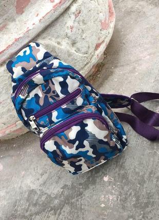 Рюкзак на одно плечо женский фиолетовый хаки