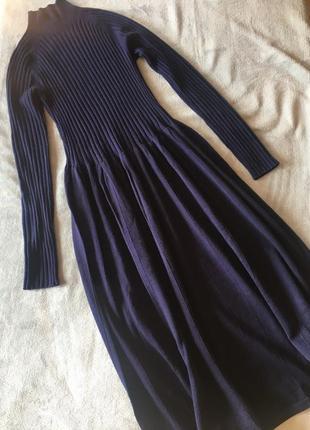 Тёмно-синее платье под горло от uniqlo