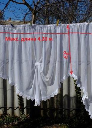 Тюль большое окно арка гардина белая органза занавеска штора кружево