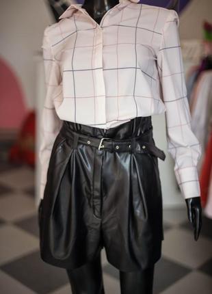 Кожаные шорты юбка