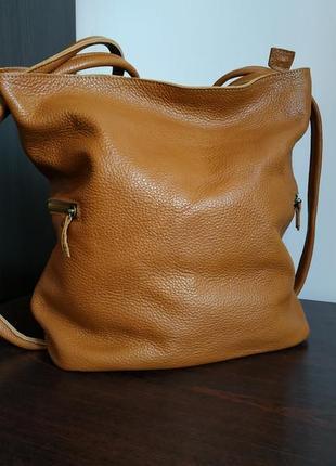 Кожаная сумка-рюкзак ручной работы