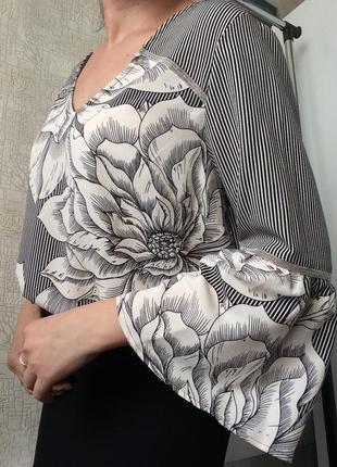Блуза в полоску и цветочный принт с v-вырезом soon/р.16