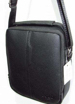 Мужская сумка на два отделения из кожзама 3023-2 черная