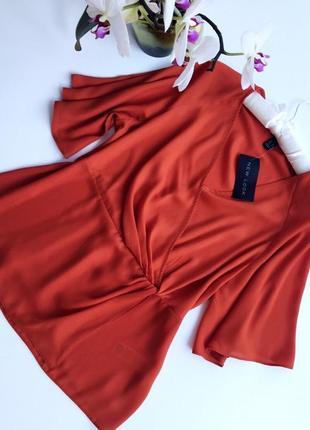Шикарная блузка на коротком рукаве морковного цвета бренд new look