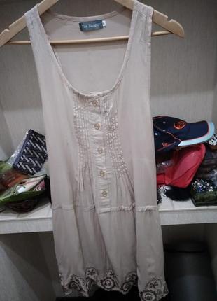 Туника платье натуральный состав с выбивкой