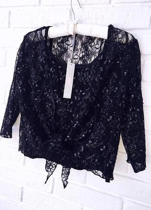Нежный кружевной комплект майка и болеро-блузка черного цвета бренд marks a spencer