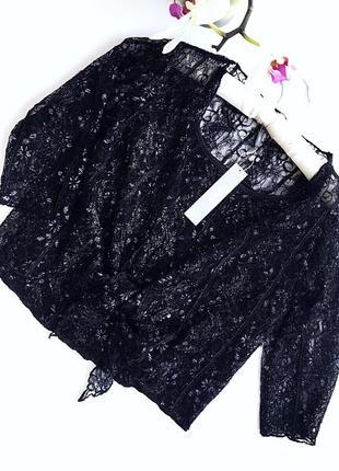 Нежный кружевной комплект майка и болеро-блузка черного цвета бренд marks a spencer3