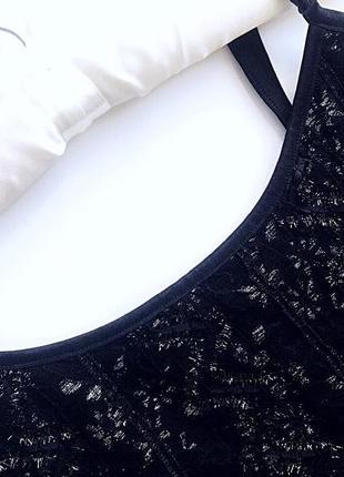 Нежный кружевной комплект майка и болеро-блузка черного цвета бренд marks a spencer7