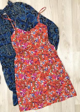 Платье морковное в цветочек и с поясом f&f