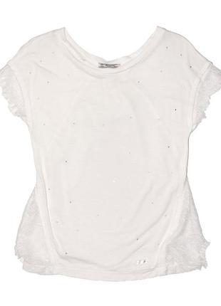 Новая футболка с кружевом для девочки, mayoral, 6013