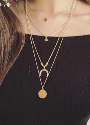 Многослойная цепочка ожерелье с подвесками золотистого цвета2 фото