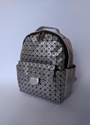 Стильный модный яркий женский рюкзак цвет серебро