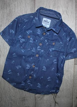 Стильная нарядная шведка рубашка джинсовая пальмы ребел rebel 1,5-2 года, рост 86-92 см.
