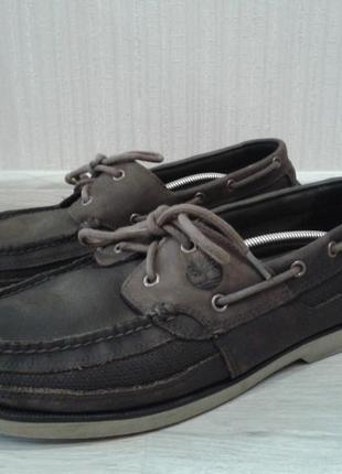 Кожаные топсайдеры туфли мокасины timberland